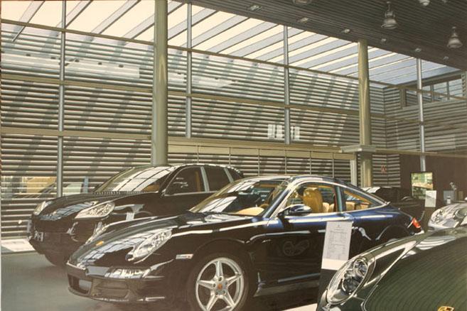 La Exposición de Porsche, óleo sobre lienzo 195 x 130
