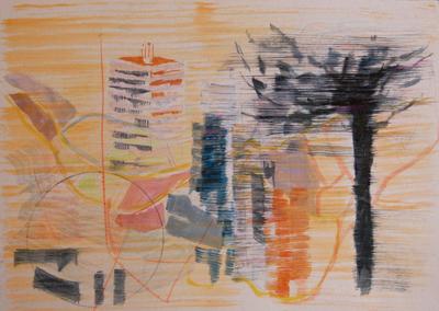 Ciudad y parque, oleo sobre papel satinado, 21X28 cm