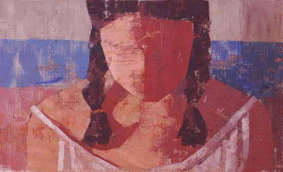 843. Cabeza sobre franja azul. 16 x 27 cm