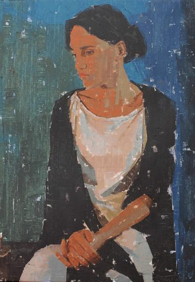 457. Mujer sentada. 73 x54 cm.