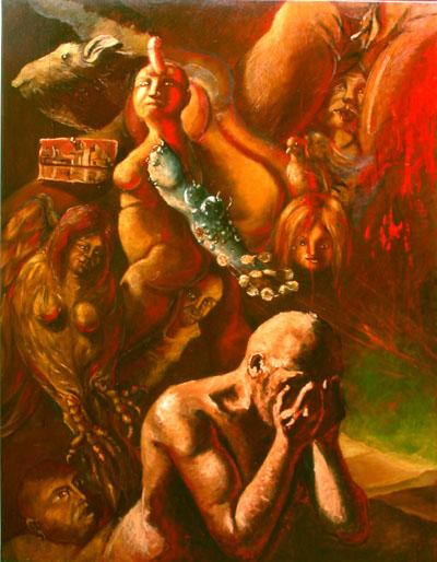 La tentación de San Antonio  (Tela central). óleo-lienzo.146x114. 2003