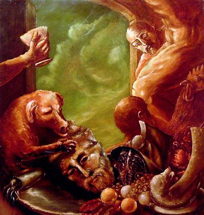 ·El festin de César . óleo-tabla, 100x100 cm. 2004