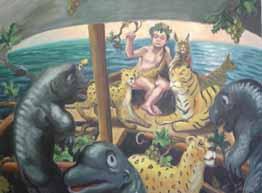 Baco y los marineros tirrenos 2009 óleo lienzo 90 x 120