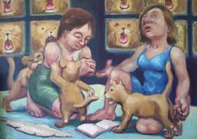 Martirios XXI Santas Justa y Rufina 2009 óleo lienzo 38 x 61