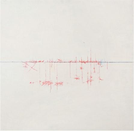 paisajes de valientes, 2010. Óleo y lápiz acuarelable sobre tela. 120x120cm