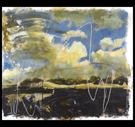 PAISAJE HOLANDES CON RAYONES,130x163,oleo y acrilico sobre lienzo,2010