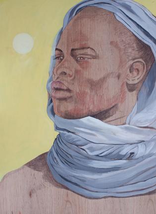 El Africano, 122x89 cm. acrílico y lápices de colores sobre madera. 2010