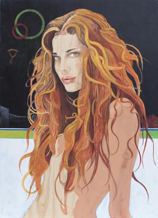 Mujer y paracaidista. 2009. 122x90 cm. acrilico y lap. color sobre madera