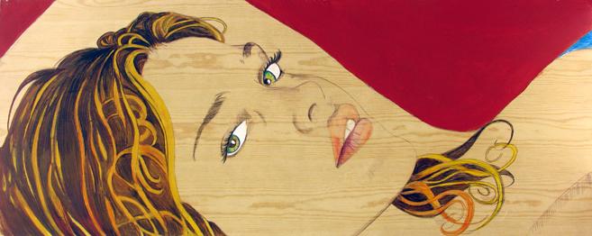 ST. 107x43 cm.2011. acrílico y lap. color sobre madera