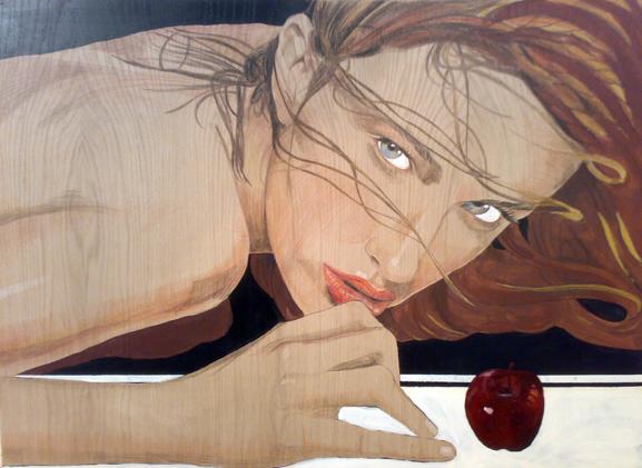 modelo y manzana, 122x90cm. 2010. acrílico y lap color sobre madera
