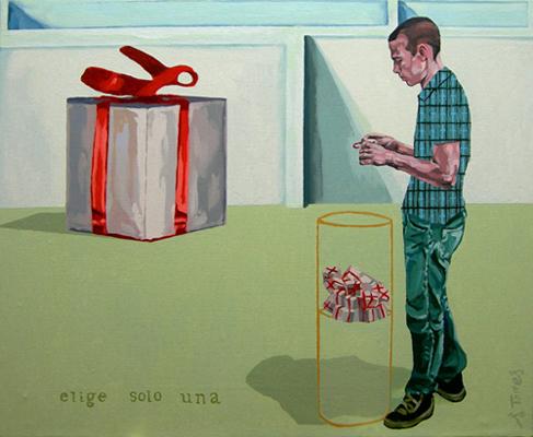 ELIGE SOLO UNA I, 2003. Óleo sobre lienzo. 50x60 cm