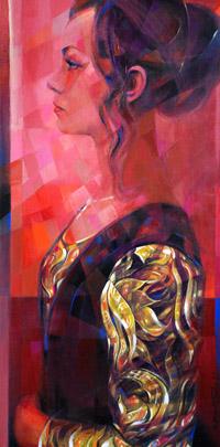 Retrato de Maria Sanchez Ozamiz en versión Giovanna Tornabuoni
