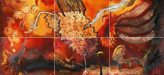 Serie Mitos de los orígenes. Mixta-lona. Políptico 6 x 0,90x1,30 m