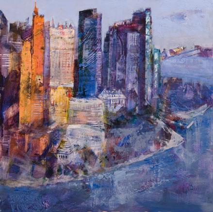 Luz Azul en Manhattan - 70x70 cm