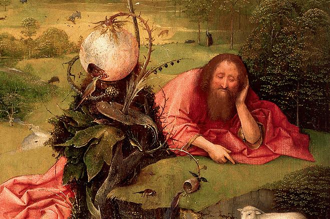Meditaciones de San Juan Bautista. El Bosco. Detalle. Museo Lázaro Galdiano