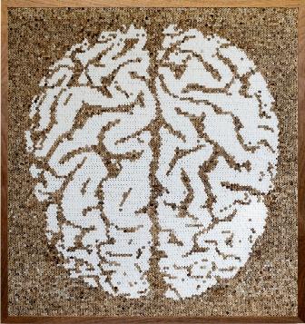 João Leonardo, Untitled Brain, 2011, Found cigarette filters and cigarette fil