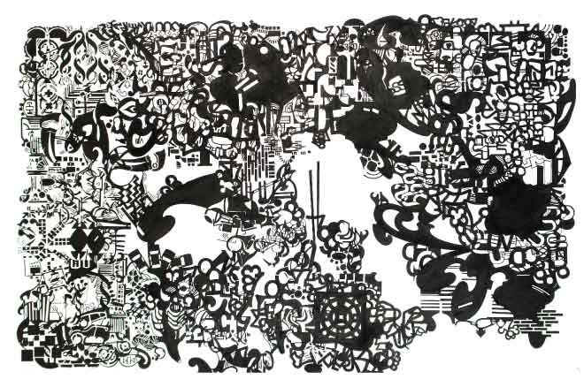 ALberto Méndez. Sin título. Tinta sobre papel. 105 x 166 cm. 2009