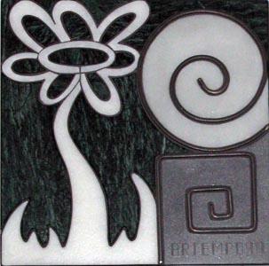 Logotipo. Combinación entre mármol y metal.