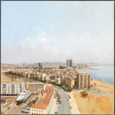 Dos miradas. Barcelona norte, 2007. Óleo sobre tela