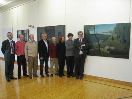 Miembros del jurado y cuadro ganador