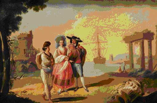 Escuela valenciana, Figuras elegantes delante de un puerto, segunda mitad XVIII
