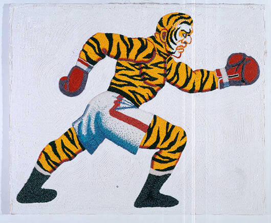 Boxeador tigre, 1999. Lentejuelas y cuantas sobre tela