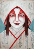 Kitsune, 2009. Acrílico y papel sobre tabla. 61 x 61 cm.