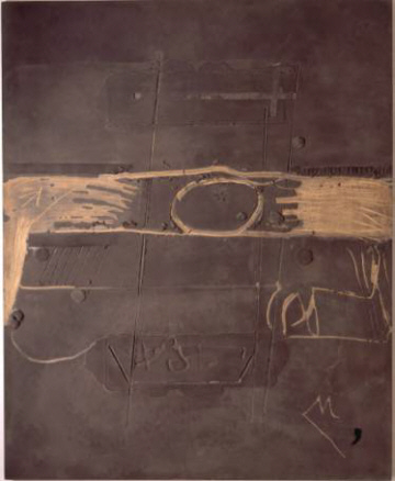 Antoni Tàpies, Marrón sobre madera con óvalo, 1979