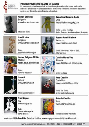 Artistas participantes en la Procesión de Arte