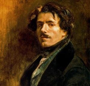 Autorretrato de Eugène Delacroix con chaleco verde.