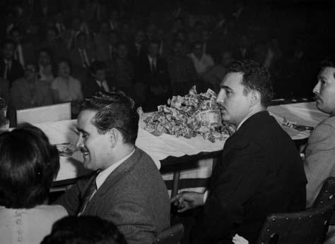 Osvaldo Salas, Fidel Castro y Juan Manuel Márquez en un acto del Movimiento,1955