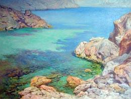 LL. Cerdà, Cala Carbó, óleo sobre tela, 81x60 cms.
