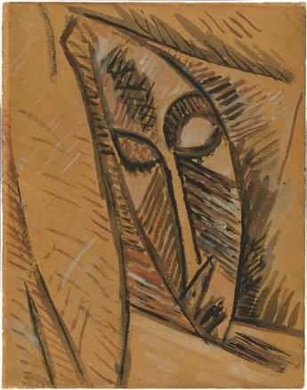 Pablo Picasso, Estudio para la cabeza de desnudo con paños, 1907