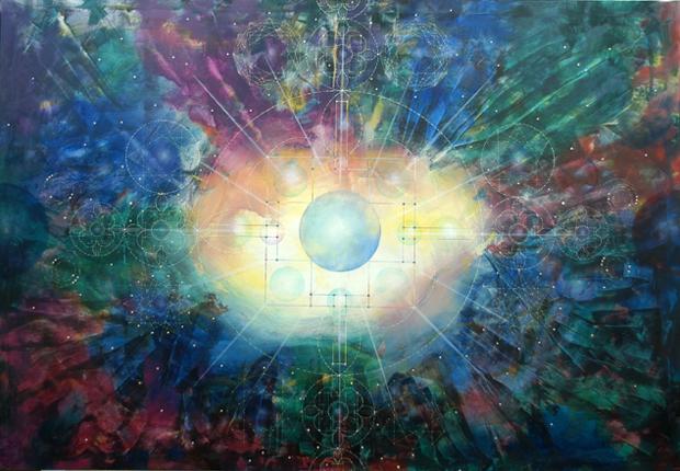 Estructura cuántica del metacosmos. Óleo sobre lienzo.