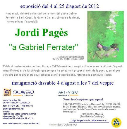 Jordi Pagès, a Gabriel Ferrater