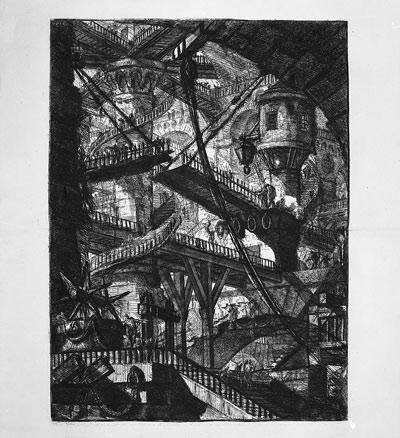 Giambattista Piranesi, El puente levadizo. Carceri d´Invenzione, hacia 1761