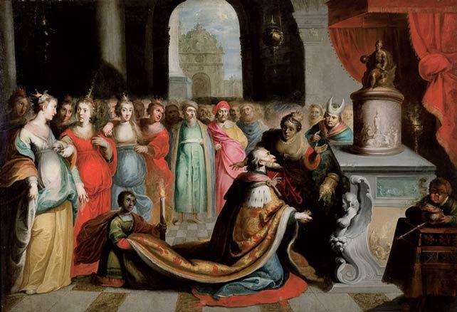 Lote 60. Escuela flamenca, s. XVII. Salomón con sus concubinas