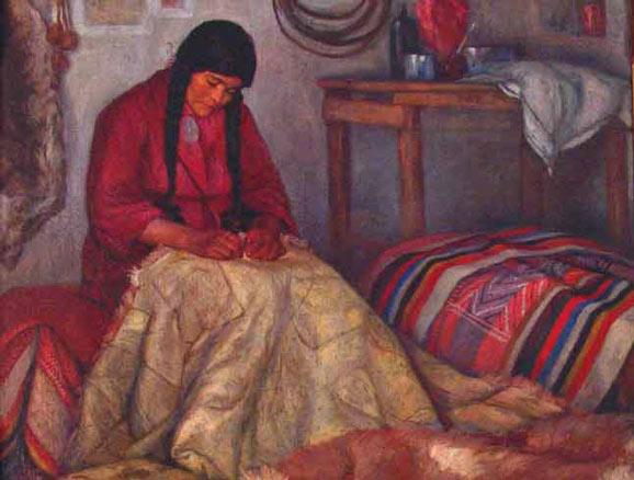 Luis Emilio Radice, Mujer mapuche tejiendo, 1912