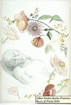 Buste d'homme aux yeux clos, entouré de fleurs