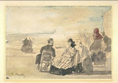 Eugène Boudin, Plage à Trouville, 1865-1867