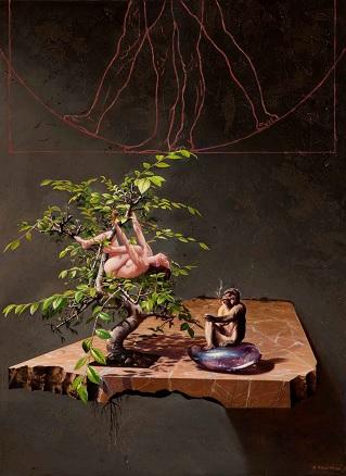 Modesto Trigo, Bodegón con bonsay. El cortejo