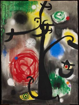 Joan Miró, Femme et oiseaux dans la nuit, 1968