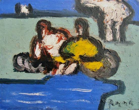 Ginés Parra, 2 Figuras y Paisaje, c. 1950
