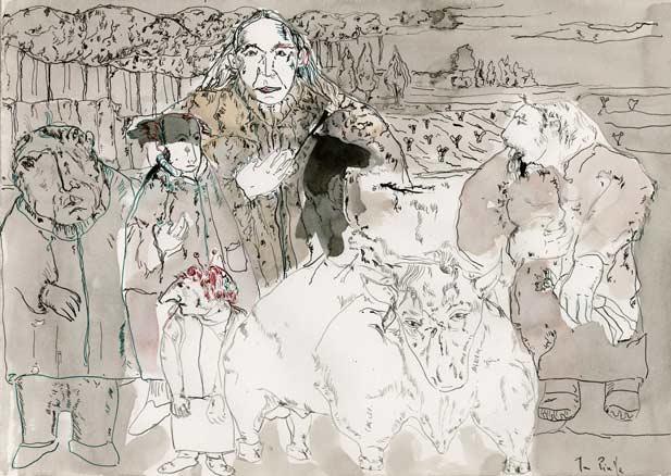 Juan Pinilla, Conversaciones VII, 2013, acuarela, 28 x 20 cm.