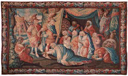 Encuentro del rey Darío con Carlo Magno, Tapiz Aubusson en lana, s. XVIII