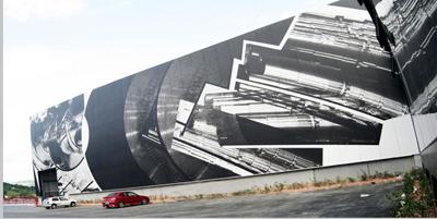 Paneles que recubren la fachada de INDAR | Jesús Jáuregui: arte en las empresas