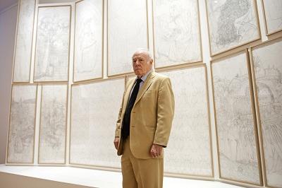 Eduardo Arroyo delante de su versión de El Cordero Místico | Eduardo Arroyo expone, a sus 75 años, en el Museo del Prado