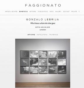 Pantallazo de la web de Faggionato con la exposición de Gonzalo Lebrija | Primeras individuales de Gonzalo Lebrija y Tony Oursler en Faggionato y Leme