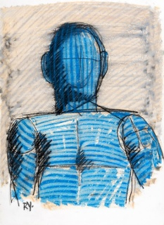 Ricardo Yrarrázaval, La figura azul: Pastel graso y carboncillo sobre papel de 37x27cm.