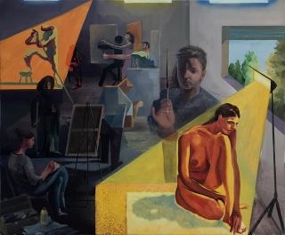Cristóbal Quintero, Composición 4, 100x120 cm., óeo sobre tela, 2018 — Cortesía de la Galería Birimbao